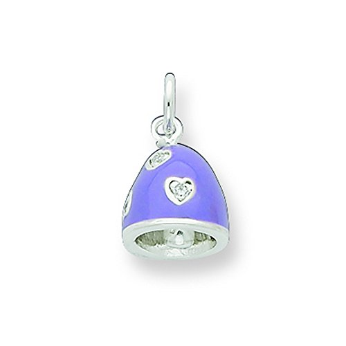 Sterling Silver Cz Purple Enameled Polished Bell Charm