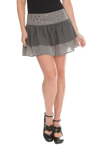 Silver Grey Ruffle Lace Stud Mini Skirt