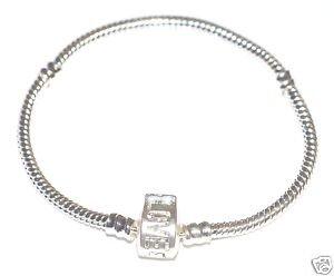 Silver Plated European 'LOVE' Charm Bead Bracelet 19cm - *Fits Pandora Charm Beads*