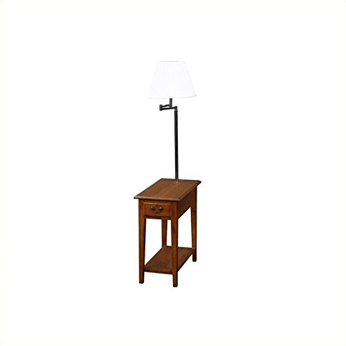 End side table with attached lamp with swingarm table has drawer i