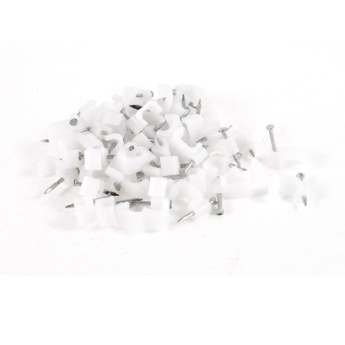 65 Pcs Plastic Wall Insert 9mm Width Circle Cable Wire Nail Clips
