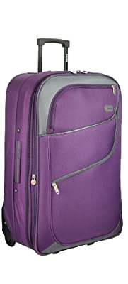 "5 Cities®, 3 year warranty, Purple, large 28"", Super lightweight hard wearing and light weight 600 denier polyester material with polynylon trim expandable trolley suitcase flight bag, 72 x 25 x 44 3.5kg 79L (Purple/Grey) - 'Right Size, Right Weight, Rig"