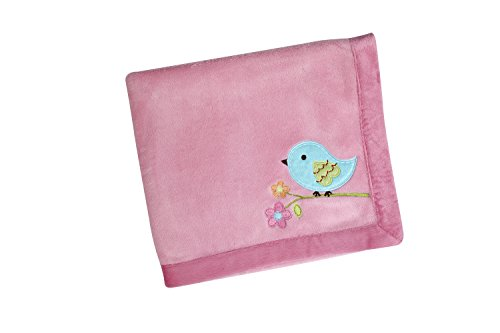 NoJo Love Birds Crib Bedding Set, Coral Fleece Blanket - 1