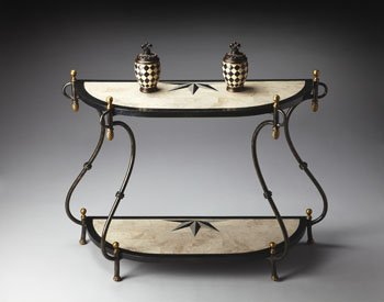 Image of Metalworks Demilune Compass Rose Console Table (B008DWRWL2)