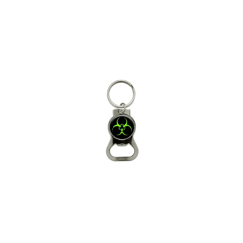 Zombie Outbreak Response Vehicle Biohazard Green   Bottle Cap Opener Keychain Ring