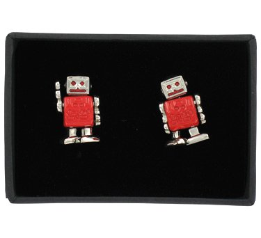 Paperchase cufflinks. robot chrome design