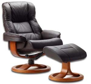 Fjords 855 Loen Small Leather Recliner Norwegian Ergonomic Scandinavian Lounge Reclining Chair Furniture Nordic Line Genuine Havana Dark Brown Leather Cherry Wood