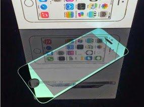 iPhone5/5s/5c 0.2mm 強化ガラス 液晶保護フィルム 【iphone & iPad 用 ホームボタン シール 2個 付き】 /ケース カバー グリーン,黒×銀