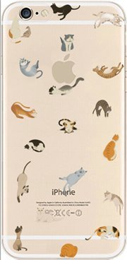 iPhone 6 / 6S Case, DECO FAIRY® Protective Case Bumper Ultra Slim Translucent Silicone Clear Case Gel Cover for Apple (cats party)