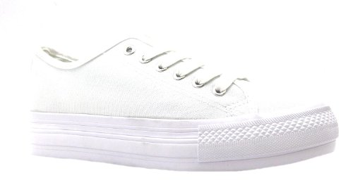 Women's Base Low Heart & Sole White Lace Up Baseball Style Shoes