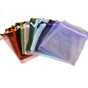 Leegoal Wedding Party Favor Satin Drawstring Organza Bags Pouch (Set of 100,Assorted Color)