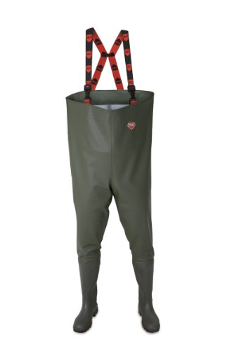 VITAL VW167 Trent Green PVC Chest Waders with Adjustable Braces and Quick Release Clips