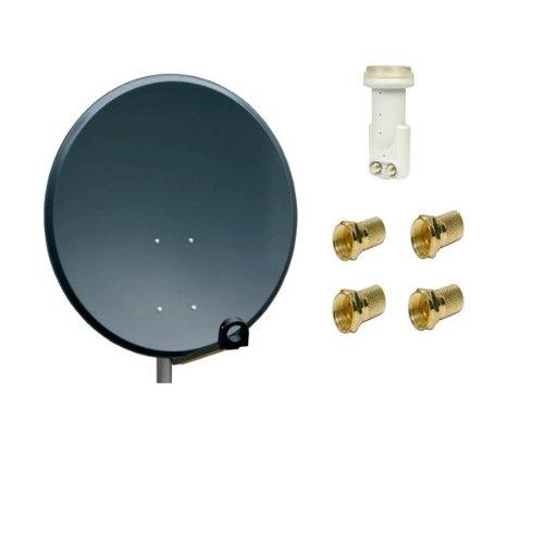 Antenne PremiumX SAT Schüssel Spiegel 80 cm Alu, PXA-80 Anthrazit Aluminium Digitale Sat Anlage FullHD HDTV + LNB Twin 0,1 dB He@d Blue Series LNB FULLHD 3D + 4x F-Stecker 7mm Vergoldet Gratis dazu !!!