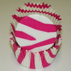 Hot Pink Zebra Cupcake Baking Liners