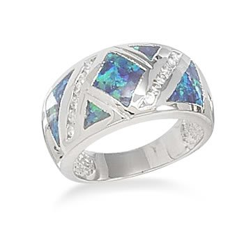 Sterling Silver Synthetic Blue Opal and CZ Ring / Size 6
