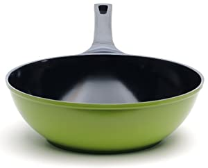 """The 12"""" Green Earth Wok by Ozeri, with Smooth Ceramic Non-Stick Coating (100% PTFE and PFOA Free)"""