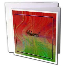 Beverly Turner Welcome Design Welcome Abstract Design Orange Greeting Cards 6 Greeting Cards with envelopes