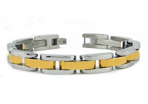 Two-Tone Stainless Steel Men's Link Bracelet 8.5
