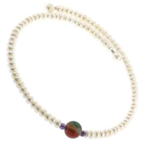 Excellent Quality Freshwater Pearl Button Choker Necklace on Memory Wire with Center Agate Semi-Precious Stone- 7.5mm Pearls
