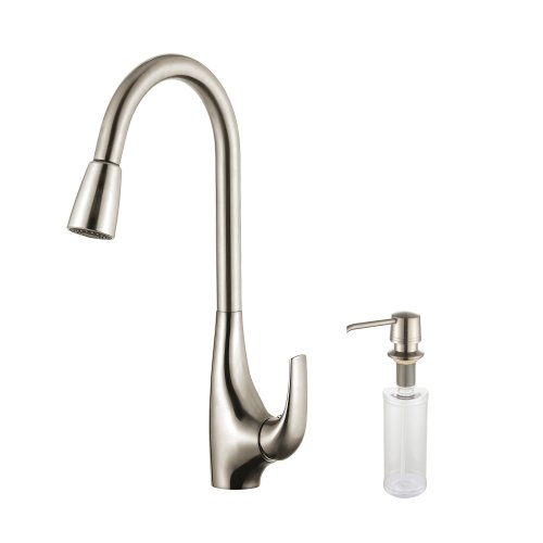 Kraus KPF-1621-KSD-30SS Single Lever Pull Down Kitchen Faucet and Soap Dispenser, Stainless Steel Finish