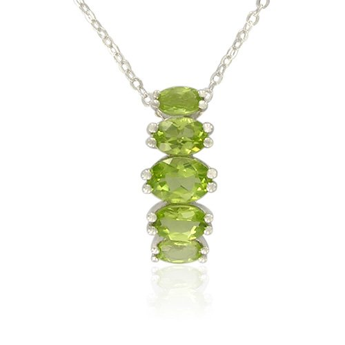 Sterling Silver Oval-Shaped Peridot Pendant Necklace , 18.5
