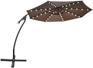 strong camel 9 39 cantilever solar 40 led light patio umbrella outdoor garden. Black Bedroom Furniture Sets. Home Design Ideas