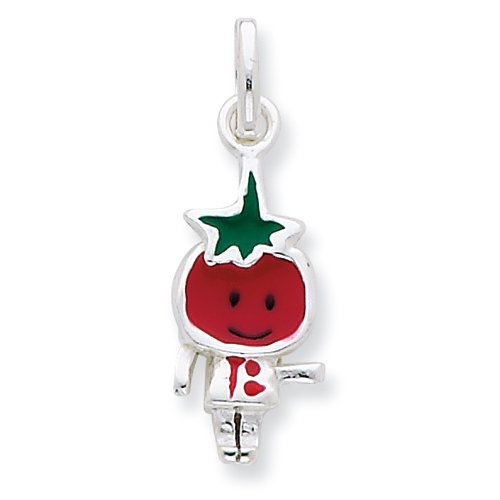 Sterling Silver Enameled Tomato Person Charm
