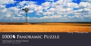 "Terry Thompson ""Windmill in Wheat Field"" Panoramic Puzzle 1000 Pieces"