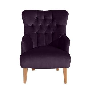 Sessel Brandon, samtiger Veloursstoff in der Farbe purple