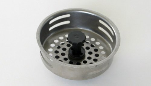 Chef Craft 21031, 1-piece, Kitchen Sink Strainer and Stopper, Sink Basket Strainer, Stainless Steel - Fits Standard Sink Openings