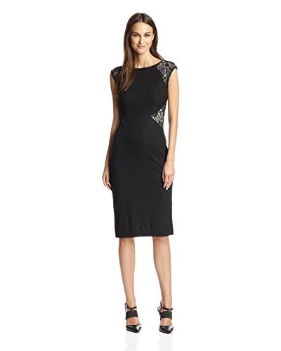 London Times Women's Lace Panel Sheath Dress  [Black/Nude]