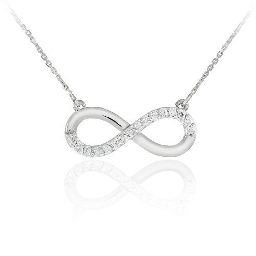 Fine-14k-White-Gold-Infinity-Polished-Pendant-Necklace-with-Diamonds-18-Inches