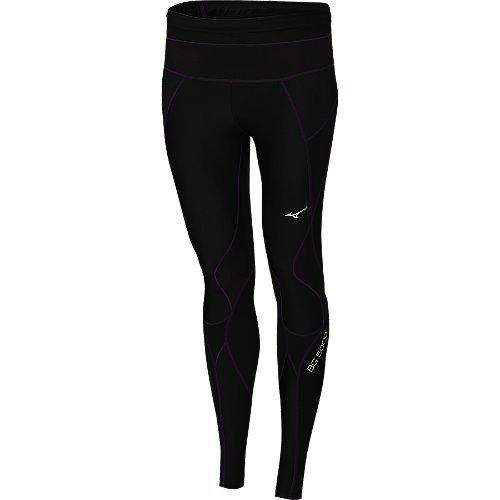 Mizuno Running Women's Bg5000 Long Tights, Small, Black/Purple Magic