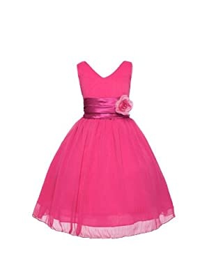 V-Neckline Chiffon Flower Girl Dress