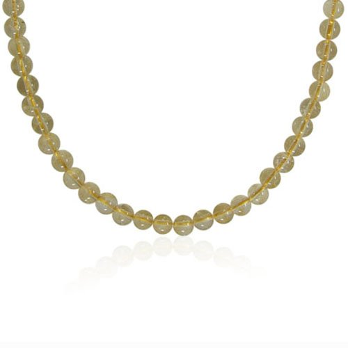 6mm Round Inclusion Citrine Bead Necklace, 50
