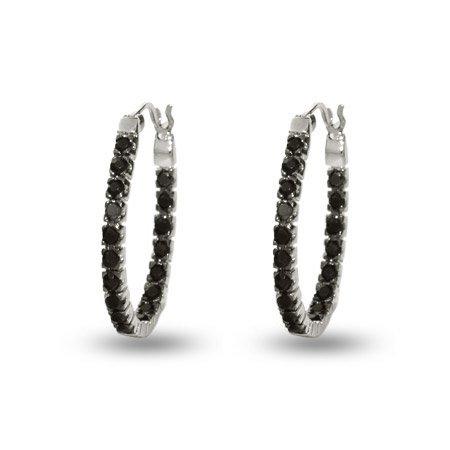 Petite Black Cz Inside Out Oval Hoop Earrings