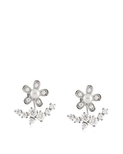 Splendid 4-5mm White Pearl Stud Earrings with CZ Flower Jackets
