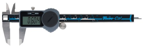 Brown & Sharpe 00590093 Twin-Cal IP40 Digital Caliper, 0-6 in/0-150 mm Range, 0.0005 in/0.01 mm Resolution, Square Depth Rod, Built in Wireless Functionality