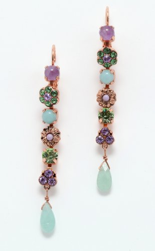 'Spring Vibration' Collection 24K Rose Gold Plated Dangle Earrings by Amaro Jewelry Studio with Flower Details, Tear Drop, Rainbow Fluorite, Labradorite, Lavender Cape Amethyst, Amethyst, Amazonite and Swarovski Crystals