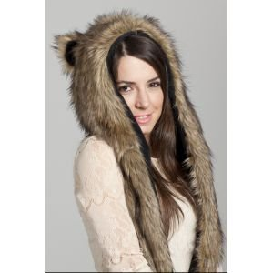 Faux FUR Animal Winter Snow HAT Hood Grizzly Bear Ski with Mittens Unisex