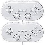 Poulep 2 Packs Classic Retro Wired Controllers Pro for Nintendo Wii (white and white) (Color: white and white)
