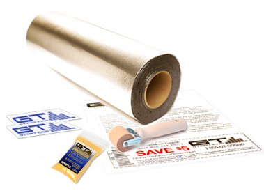 =>  GTMAT 25 sqft Automotive Sound Insulation 80mil ULTRA - Rattle Eliminator Installation Kit Includes: 25sqft Roll (3ft X 8.5ft), Instruction Sheet, Application Roller, Degreaser, GT MAT Decals