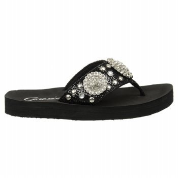 Grazie Women'S Seascape Thong Sandal,Black,6.5 B Us front-557496
