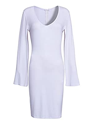 Choies Women White Deep V-neck Cape Poncho Bodycon Package Hip Mini Dress M