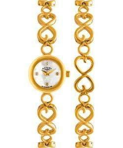 Rotary Ladies Gold PVD Watch With Matching Bracelet Heart Design RRP £190 LB03448/BR/41