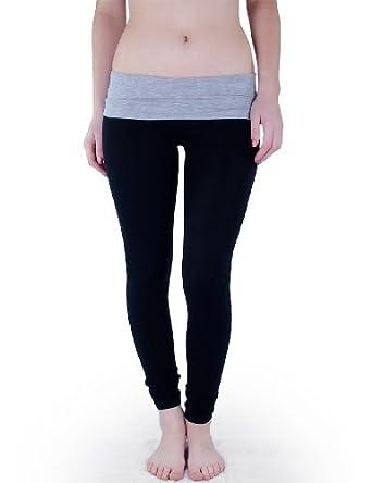 Casual Cotton Spandex Fold Over Waist Leggings Junior Sizing (Juniors Small, Black/H.Grey)
