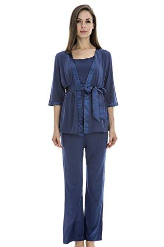 Bearsland Maternity Women's 3 Pieces Set Maternity night Nursing Pajamas Blue Size L