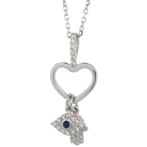 Sterling Silver 16 in. Cable Link Chain Necklace w/ Jeweled Heart Cut Out, Evil Eye & Hamsa Pendant