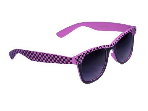 Sonnenbrille im 'Wayfarer Style' im trendigem Karomuster mit schwarz verlaufenden Gläsern * Nerd, Fb.:pink