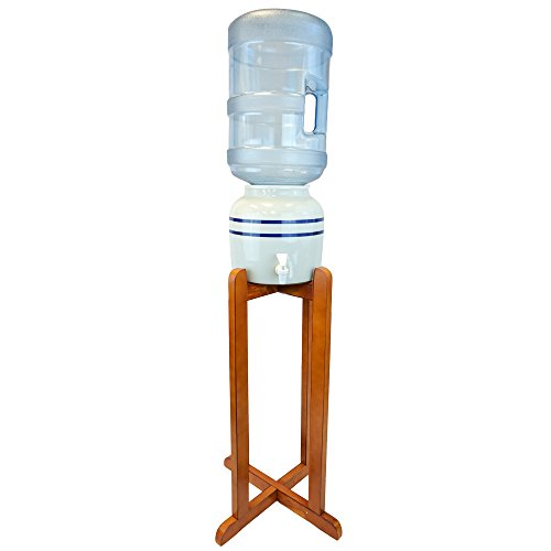 Porcelain Water Dispenser Blue Stripe with Wooden Stand (Ceramic Crock Water Dispenser compare prices)
